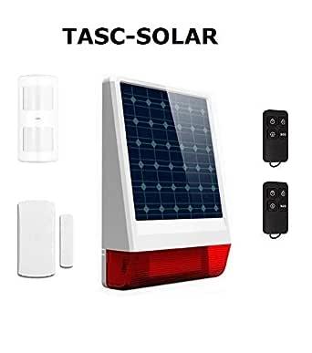 tu alarma SIN cuotas - Tasc SOLAR y GSM/SMS (con tarjeta SIM), funciona SIN corriente eléctrica | Kit de seguridad con Sirena para manejar en Remoto con Móvil | mandos incluidos