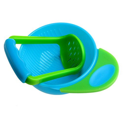 (Mimgo Store Baby Infant Learn Dishes Grinding Bowl Kids Handmade Grinding Food Mill (Blue Green))