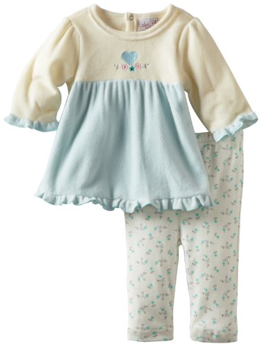 Rene Rofe Baby Newborn Girls Heart and Rosette Fleece Set, Aqua/Cream, 0-3 Months ()