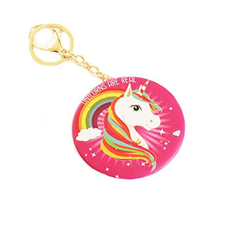 (Unicorn Rainbow Compact Mirror Keychain Double Sided Magnification Portable Folding Cosmetic Pocket Mirror with Lobster Claw Hook Key Ring)