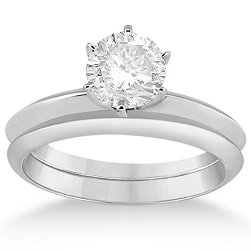 (Six-Prong Knife Edge Solitaire Engagement Ring Bridal Set Platinum)