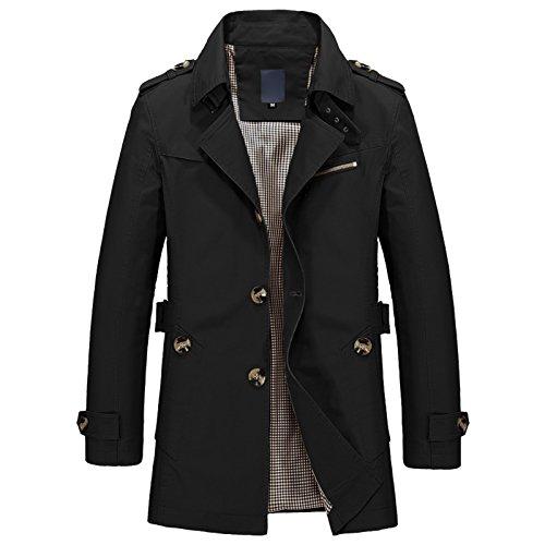 Single Turn Jacket Breasted Long Elonglin Military Down Mens Coat Sleeve Black Slim Trench Fit Collar Short P88pYUBq