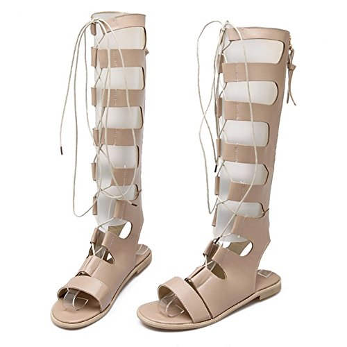COOLCEPT Mujer Moda Cordones Sandalias Punta Abierta Plano Zapatos Albaricoque