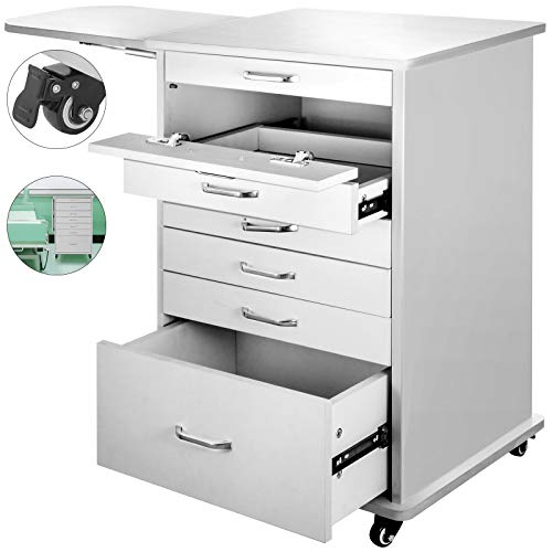 Happybuy 4/5/7 Drawer File Cabinet Rolling File Cabinet Denta Medical Utility Mobile Rolling Assistant's Cart with Wheels for Medical Home Office (5 Drawer)