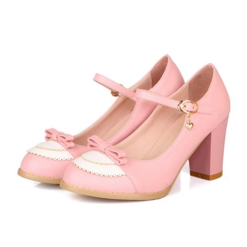 Buckle Toe Assorted Round Heel with Bowknot Kitten Womens Closed AmoonyFashion Pumps and Colors Pink PU wX0qtOB