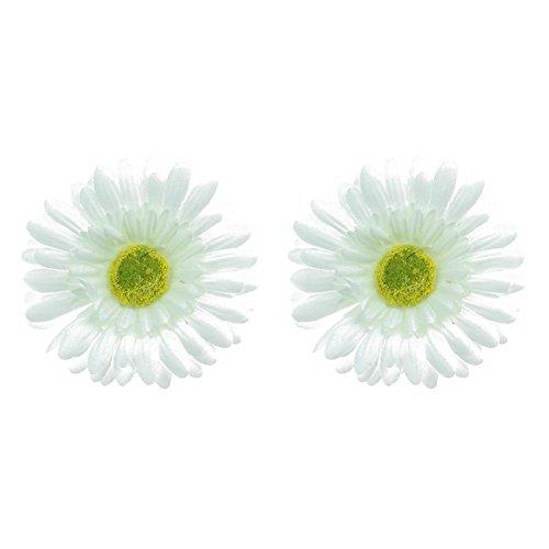 Mwfus 2PCS Bohemia Women's Daisy Flower Hairpin Hair Clip Flower Brooch Corsage Beige