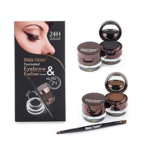 Official Eyeliner Gel Eyebrow Powder Waterproof Brown and Black with Brush Mirror Kit