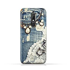 AMC Design Nokia 5.1 2018 TPU Silicone Protective Case with Modern Jeans Pattern