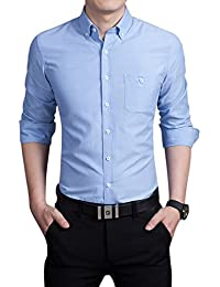 Men's Basic Collared Long Sleeve Dress Shirt One-Pocket