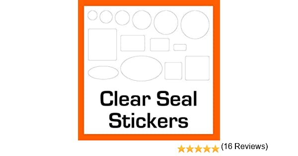 500 Transparente//Transparente Sello Pegatinas // Etiquetas 14 Tallas a Elegir Adhesivo Permanente 21 x 48mm Ovals