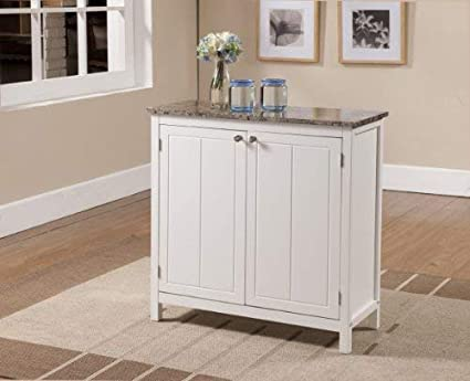 Amazon Com Kings Brand White With Marble Finish Top Kitchen Island