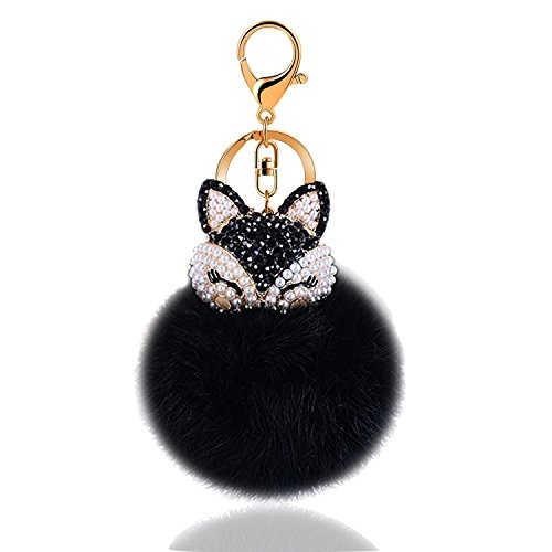 Cute Fox Fur Ball Keychain,Car Handbag Pendant Pom Pom Key Ring Chain with fashion Alloy Synthetic Diamonds Decorative for Women Girl Gifts (Black)
