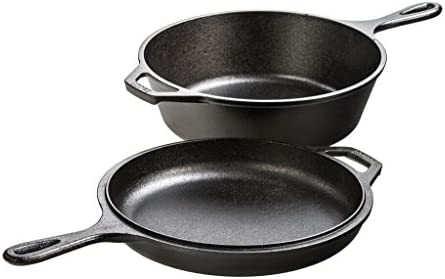 Lodge 3 Quart Cast Iron Combo Cooker. Pre-seasoned Cast Iron Skillet, Fryer, Dutch Oven, and Convertible Skillet Griddle Lid