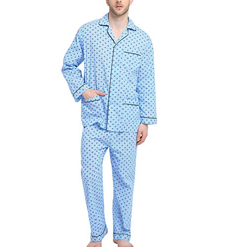 Mens Pajamas Set, 100% Cotton Woven Drawstring Sleepwear Set with Top and Pants/Bottoms
