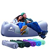AlphaBeing Inflatable Lounger - Best Air Lounger for Travelling, Camping, Hiking - Ideal Inflatable Couch for Pool and Beach Parties - Perfect Air Chair for Picnics or Festivals (Space Gray)