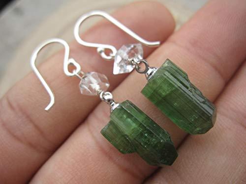 Green Tourmaline Earrings,Herkimer Diamond Earrings,925 Sterling Silver Earrings,Drop Length 3.7 cm,EGTH3
