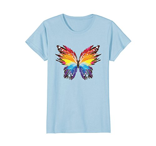 Blue Butterfly Womens T-shirt (Womens butterflies t shirt Small Baby Blue)
