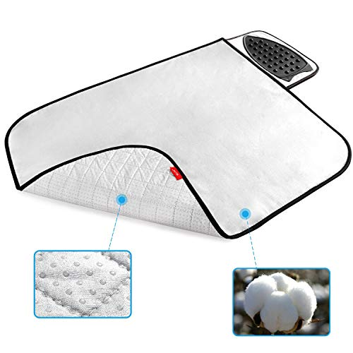 WLLIFE Ironing Pad Ironing Mat,Upgraded Anti-Slip Ironing Blanket with Silicone Iron Rest, Thick Cotton Padded Not The Foam, Heat Resistant Iron Pad for Table Top,Washer Dryer Top Cover(28.3×24 in)