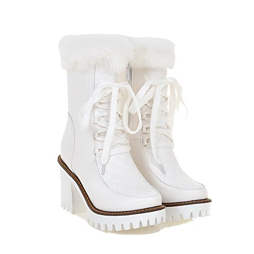 White Zipper AmoonyFashion Closed Boots top Low Round Toe Women's Heels PU High 6wqPwU