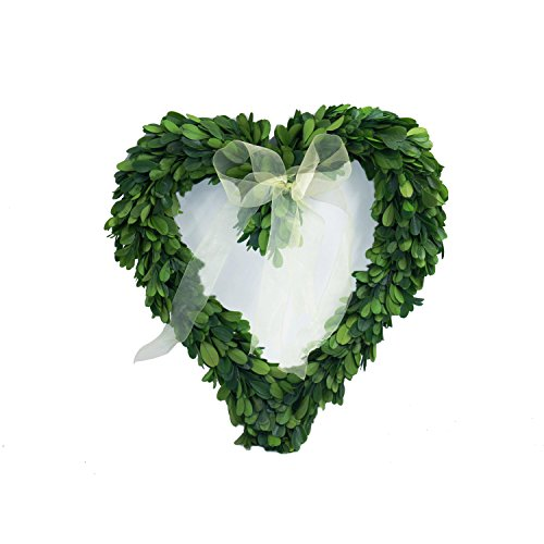 11 inch Preserved Garden Boxwood Heart wreath with silk ribbon by COCOMIA