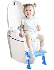 Potty Training Seat for Kids Adjustable Toddler Toilet Chair with Sturdy Non-Slip Step Stool Ladder Comfortable Handels and Splash Guard Easy to Assemble Boys Girls