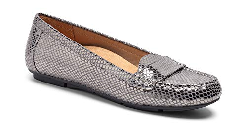 Vionic Women's Chill Larrun Loafer, Gunmetal Snake, 7.5 M