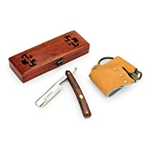 "A.P. Donovan - High quality 7/8 "" Straight razor - handle mahogany wood - including wooden case, abrasive paste and strop leather"