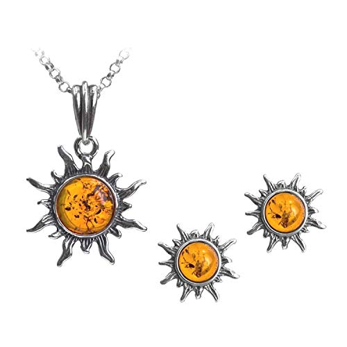 Amber Sterling Silver Flaming Sun Stud Earrings Pendant Necklace Set Chain 18
