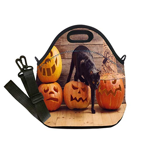 Custom Digital Printing Insulated Lunch Bag,Neoprene Lunch Tote Bags black cat with orange halloween pumpkin on wooden background Student Company School, Multicolor, Adults and -