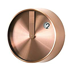 Time Concept 8 Round Minimal Wall Clock - Copper - Metal Steel Frame, Analog Time Display, Home Décor