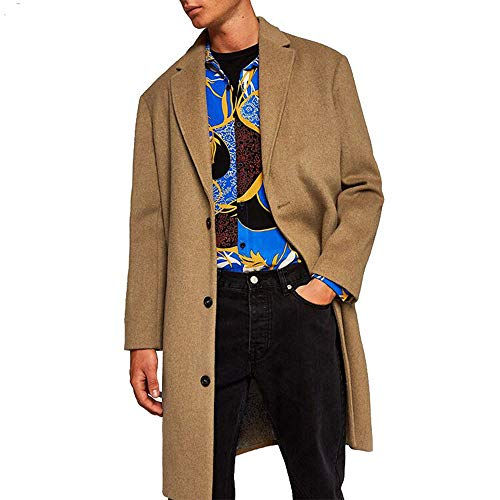 GREFER New Men Formal Single Breasted Figuring Overcoat Long Wool Jacket Outwear (XXL, L-Khaki-1) -