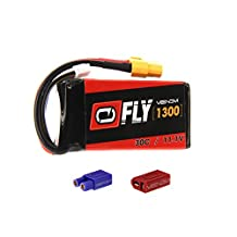 Venom Fly 30C 3S 1300mAh 11.1V LiPo Battery with Universal 2.0 Plug (XT60/Deans/EC3) for RC Airplane and Helicopter