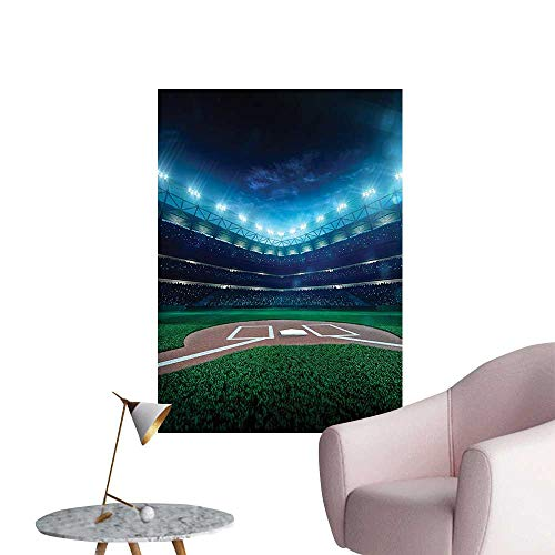 (Wall Art Prints Pr si al Baseball Field Night Spotlights Playground Stadium League for Living Room Ready to Stick on Wall,12