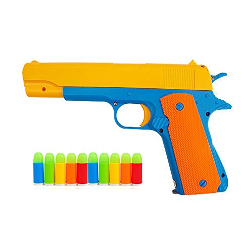 Children's Colorful Toy Gun Mauser Toy Pistol, Kids Classic m1911 with Soft Noctilucent Bullets, Teach Shooter and Gun Safety for Fun Outdoor Game and Children Safe (Toy Pistols)
