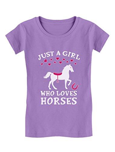 Tstars Just A Girl Who Love Horses Horse Lover Gift Toddler/Kids Girls' Fitted T-Shirt 2T Lavender
