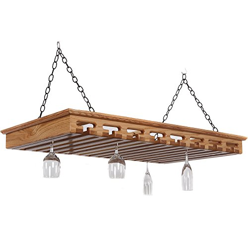 """Solid Wood Stemware Rack - Holds Over 40 Glasses (Natural) (3.5""""H x 43""""W x 23""""D)"""