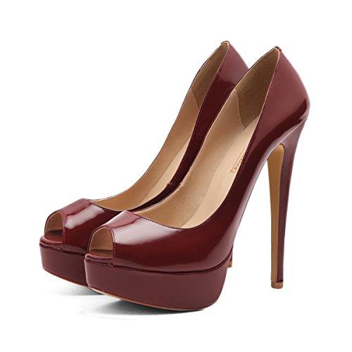 onlymaker High Heels Party On Peep Wine Women's Red Toe Wedding Shoes Platform Sexy Stiletto Slip Pumps Dress rq4UEArx