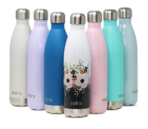 MIRA Stainless Steel Vacuum Insulated Travel Water Bottle | Leak-Proof Double Walled Cola Shape Sports Water Bottle | No Sweating, Keeps Your Drink Hot & Cold | 25 oz (750 ml) | Peonies