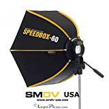SMDV DIFF60 SPEEDBOX-S60 - Professional 24-Inch (60cm) Rigid Quick Folding Hexagonal Softbox for Speedlight Speedlite Flash