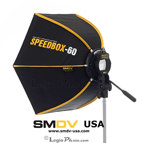 SMDV DIFF60 SPEEDBOX-S60 - Professional 24-Inch (60cm) Rigid Quick Folding Hexagonal Softbox for Speedlight Speedlite Flash by SMDV