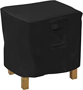 31 Inch Square Side Table Cover Waterproof Small Patio Chair Ottoman Cover Heavy Duty Outdoor Patio Accent Coffee Table Furniture Cover, Black