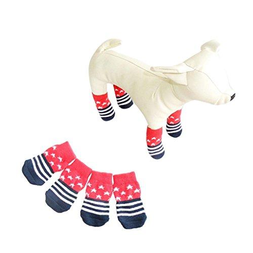 4pcs Pet Soft Cotton Anti-slip Knit Weave Warm Sock (Red) (S) - 1