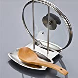 AMZLUCKY - 1pc Stainless Steel Pan Pot Cover Lid Rack Stand Spoon Holder Stove Organizer Storage Soup Spoon Rests Kitchen Accessories Tools