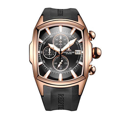 Reef Tiger Mens Luxury Sport Watches Mens Big Military Watches Rose Gold Waterproof Watches RGA3069-T