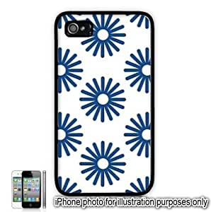 Blue Sun Bursts Pattern Apple iPhone 4 4S Case Cover Skin Black