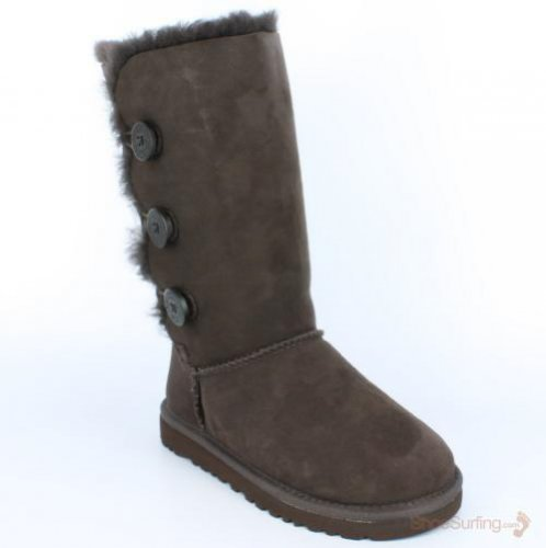 Kid's UGG Bailey Button Triplet,Chocolate,size 1 by UGG