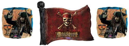 (3 Pirates of the Caribbean Mylar Balloons - Disney Pirate of the Caribbean Balloon Bundle)