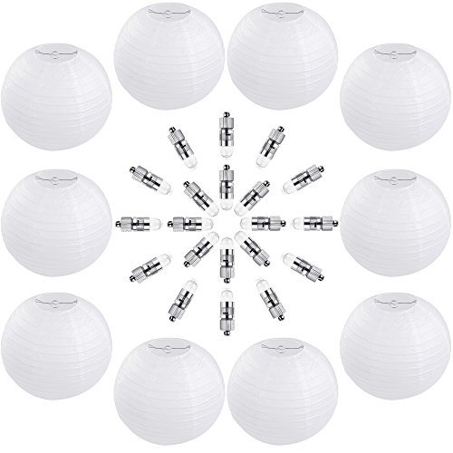 Vastar 10 Packs 12 Inch White Round Paper Lanterns, 20 Packs White LED Party Lights for Paper Lanterns and Extra 60 LED light Batteries ()