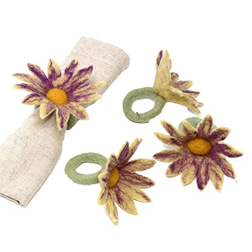 Global Groove Daisy Napkin Rings - Set of Four Purple (T)