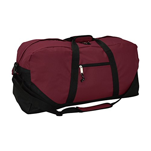 DALIX 25' Big Adventure Large Gym Sports Duffle Bag (Black Grey Navy Blue Red Camo) (Maroon)